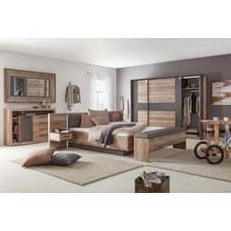 Schwebetürenschrank Kieferfarben/Beton   Dunkelgrau/Schwarz, LIFESTYLE,  Holzwerkstoff/Kunststoff (221