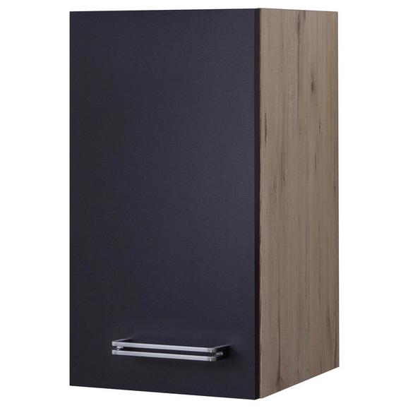 Küchenoberschrank Anthrazit/Eiche - Edelstahlfarben/Eichefarben, MODERN, Holzwerkstoff/Metall (30/54/32cm)