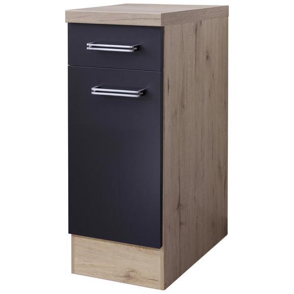 Küchenunterschrank Anthrazit/Eiche - Edelstahlfarben/Eichefarben, MODERN, Holzwerkstoff/Metall (30/86/60cm) - FlexWell.ai