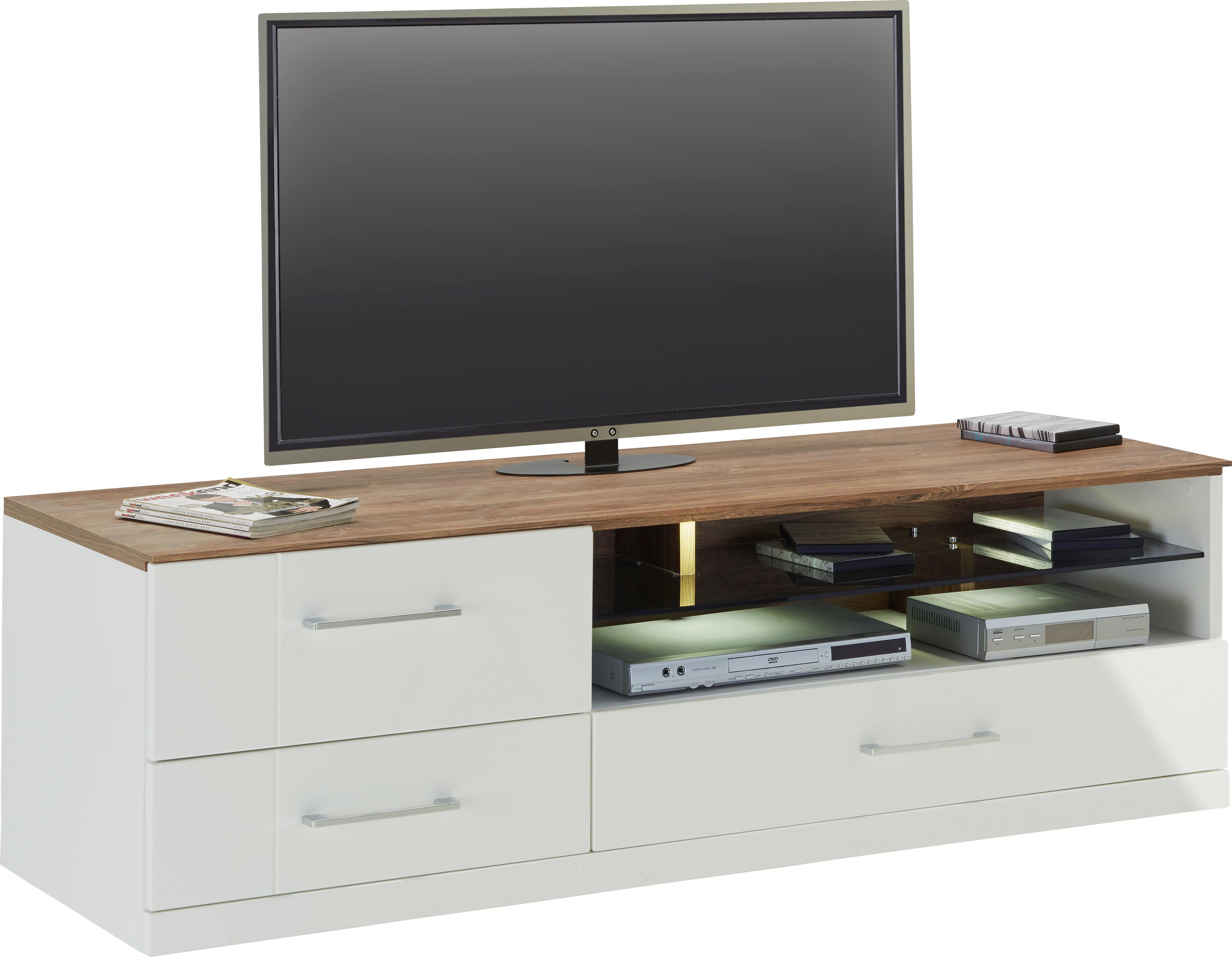TV-Element Weiß Hochglanz - Weiß/Akaziefarben, Design, Holz (160/49/50cm) - PREMIUM LIVING