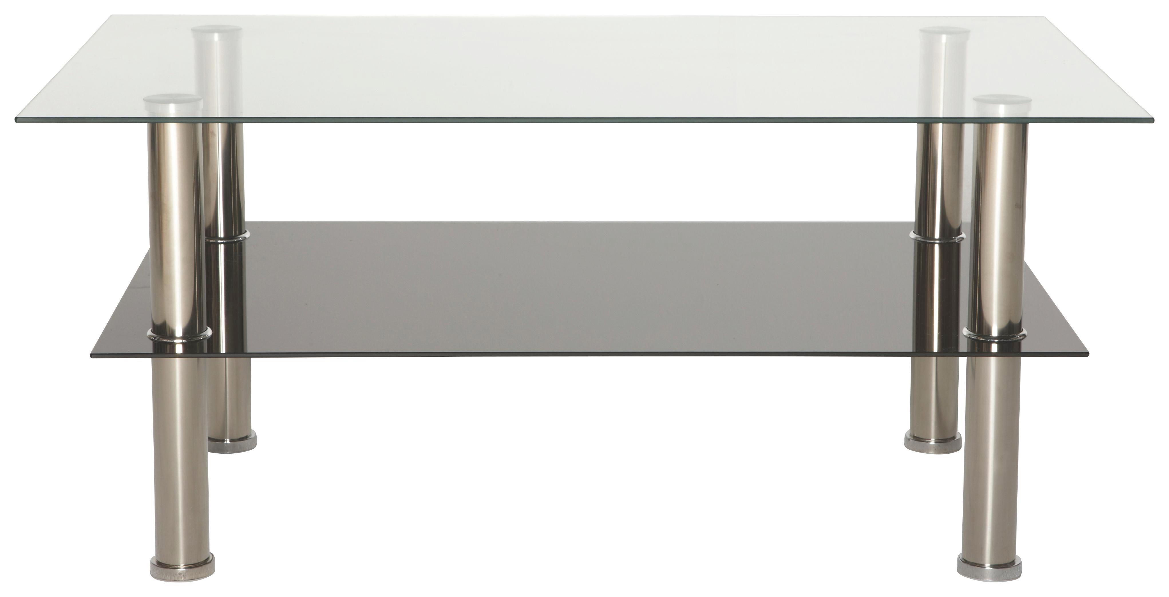 Klubska Mizica Daytona - barve nerjavečega jekla/črna, Moderno, kovina/steklo (100/45/60cm) - BASED