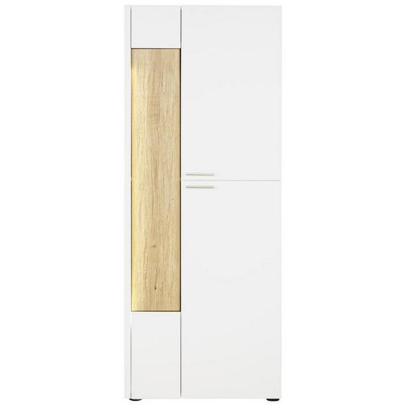 Highboard aus Eiche Massiv - Edelstahlfarben/Eichefarben, MODERN, Glas/Holz (63/165/40cm) - Premium Living