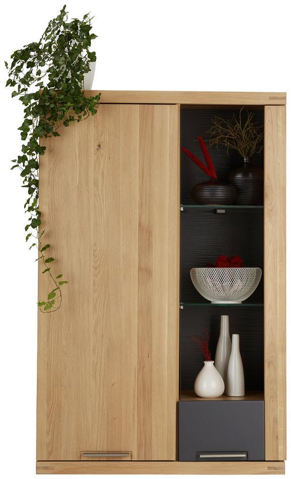 Hängeelement Graphit/Eiche - Eichefarben/Graphitfarben, KONVENTIONELL, Glas/Holz (80/124/37cm) - Zandiara
