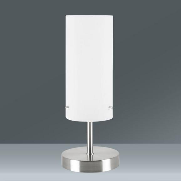 Asztali Lámpa Fényerőszabályozós - nikkel színű/fehér, modern, üveg/fém (12/38cm) - MÖMAX modern living