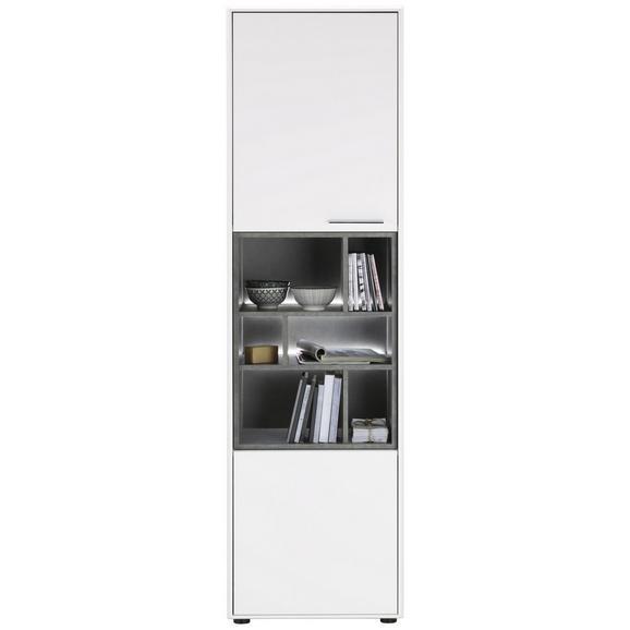 Vitrine in Weiß - Edelstahlfarben/Schwarz, MODERN, Holzwerkstoff/Kunststoff (57/200/42cm) - Premium Living