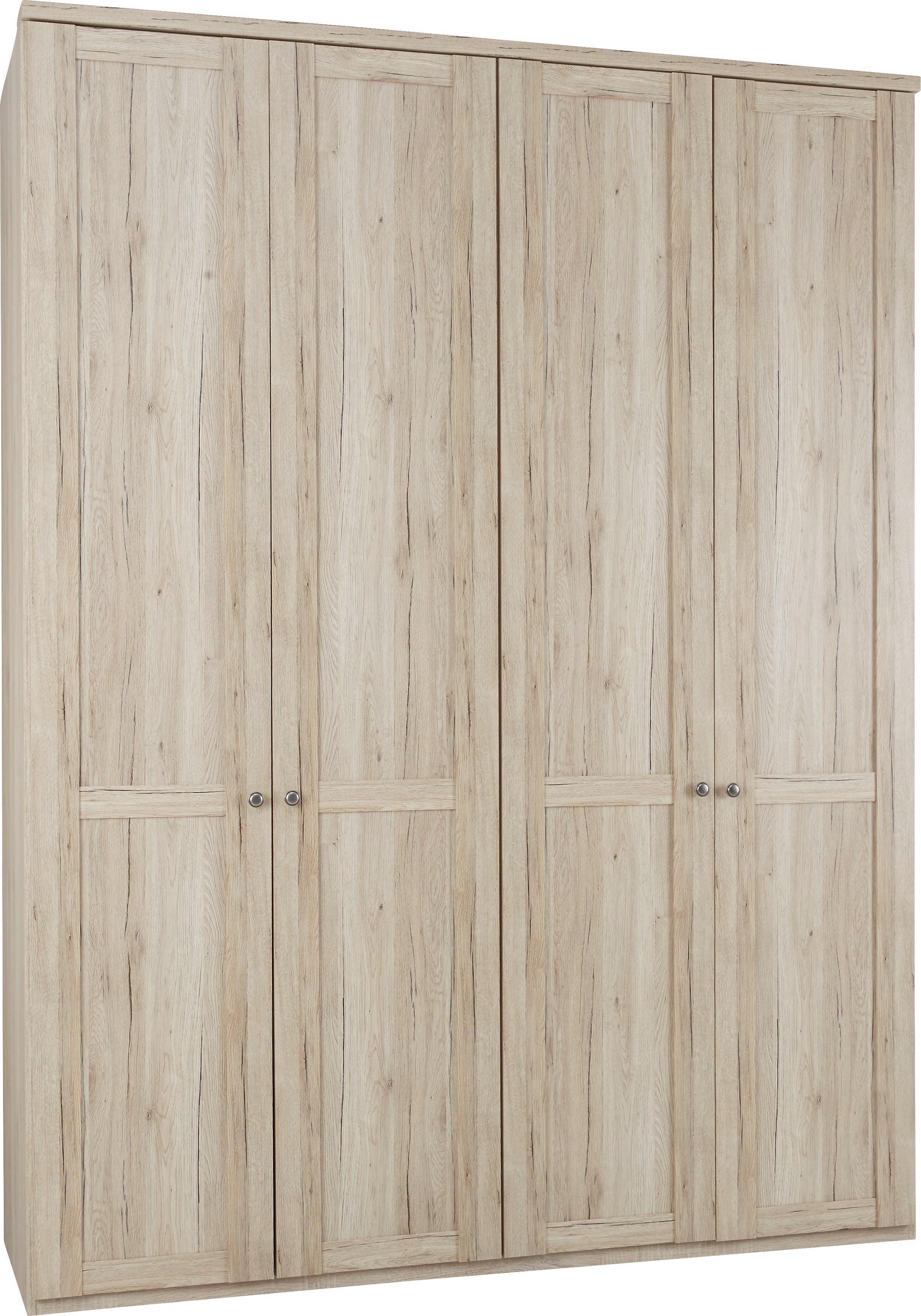 Drehtürenschrank in Eiche, 4-türig - Eichefarben/Zinkfarben, KONVENTIONELL, Holz/Holzwerkstoff (180/234/58cm) - PREMIUM LIVING