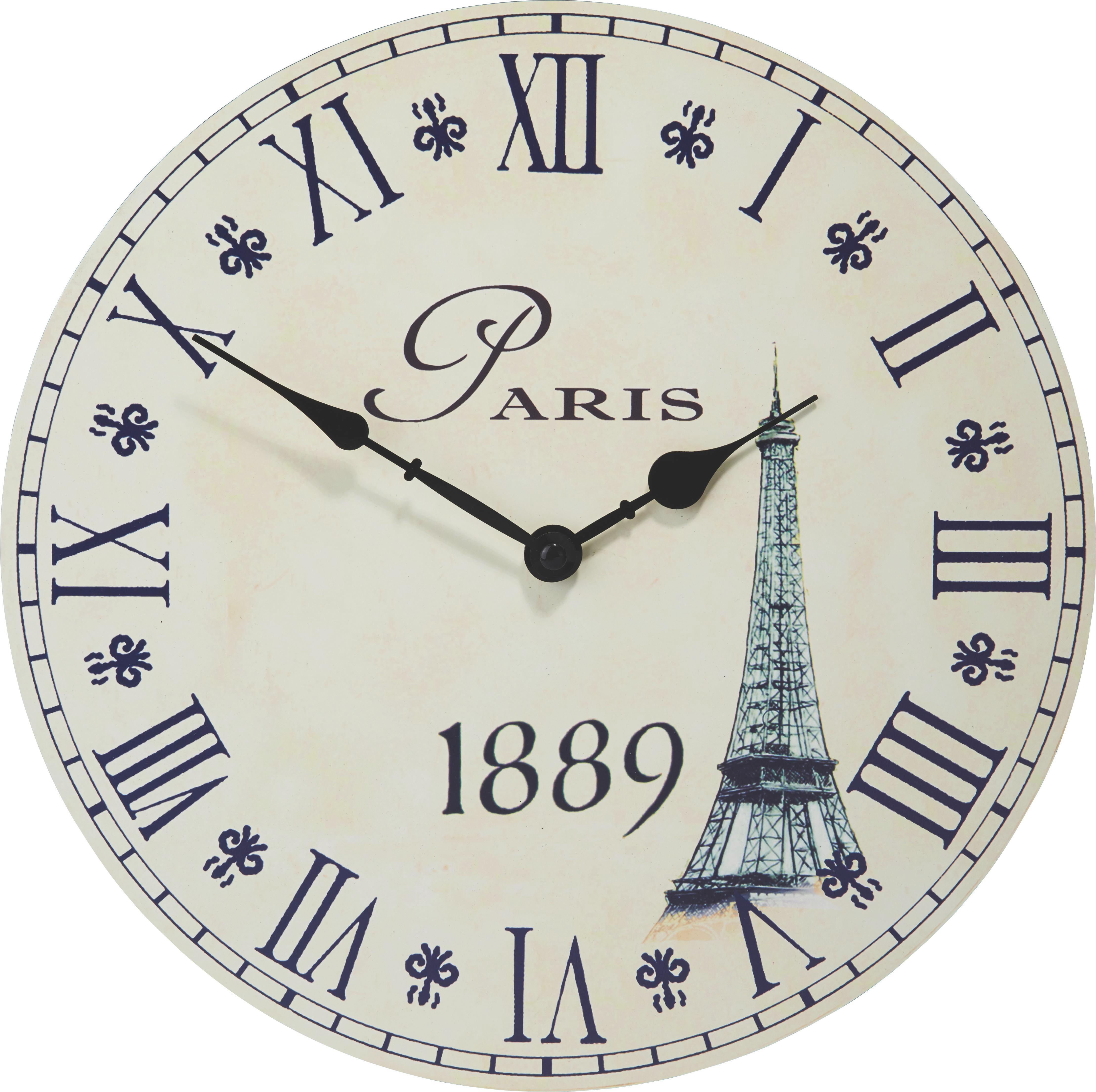 Fali Óra Eiffelturm - homok színű, romantikus/Landhaus, fa (33cm) - MÖMAX modern living