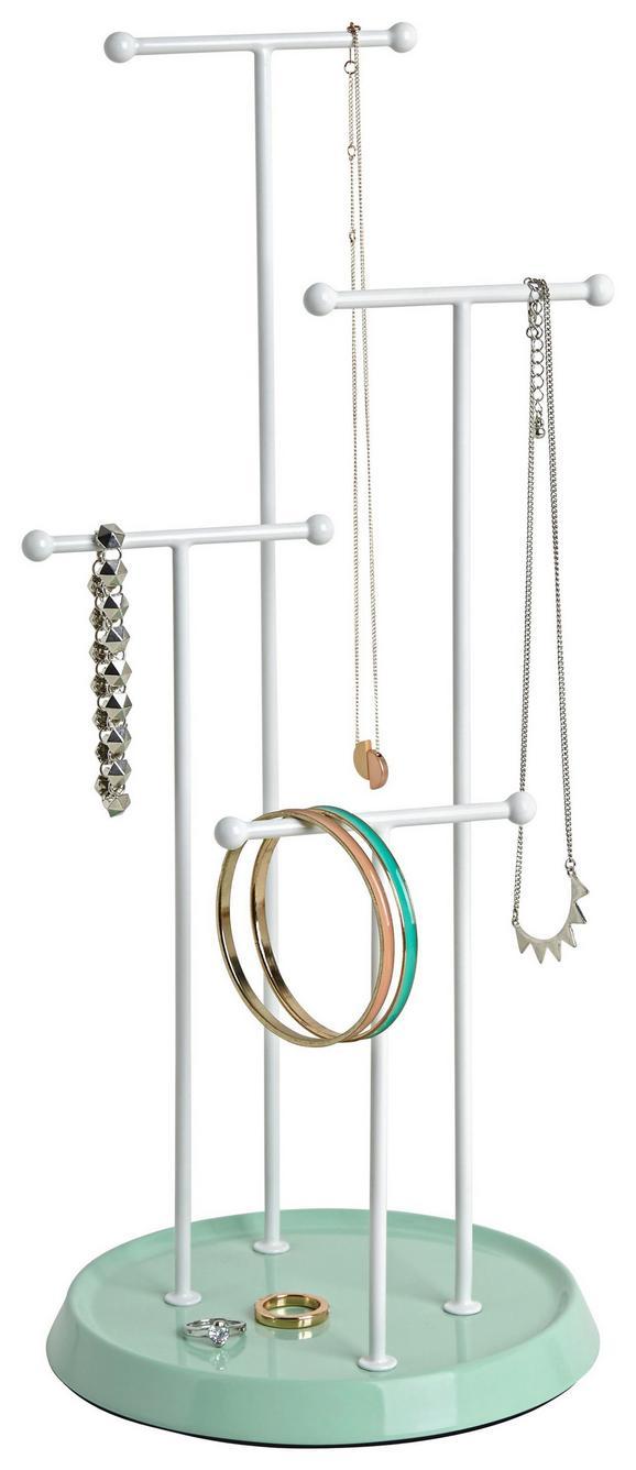 Schmuckhalter Lisa Weiß/mint - Weiß/Mintgrün, MODERN, Metall (17,5/41cm)