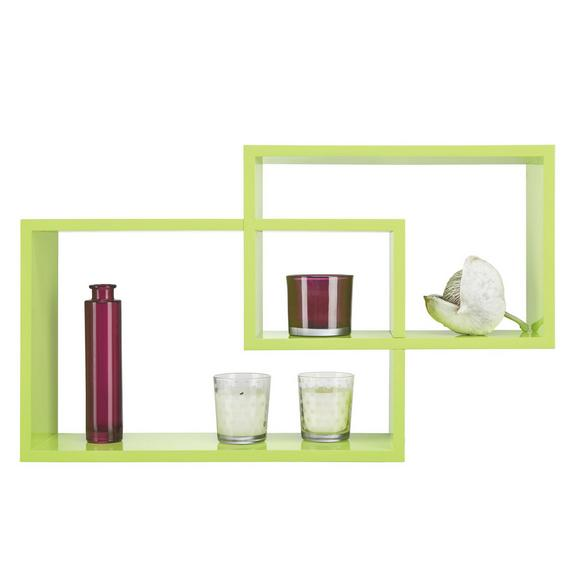 Stenski Regal Duetto - zelena, kovina/umetna masa (50/40/31,2/26,2/15cm) - Mömax modern living