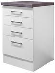 Schubkastenunterschrank Weiß - Edelstahlfarben/Weiß, MODERN, Holzwerkstoff/Metall (50/86/60cm)