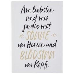 Postkarte Sonne im Herzen - Goldfarben/Schwarz, MODERN, Papier (10,5/14,8cm)