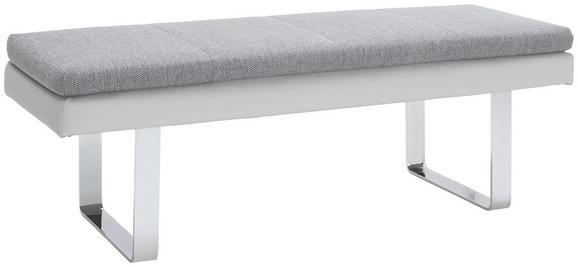 Sitzbank in Grau - Chromfarben/Grau, MODERN, Textil/Metall (143/52/50cm) - PREMIUM LIVING
