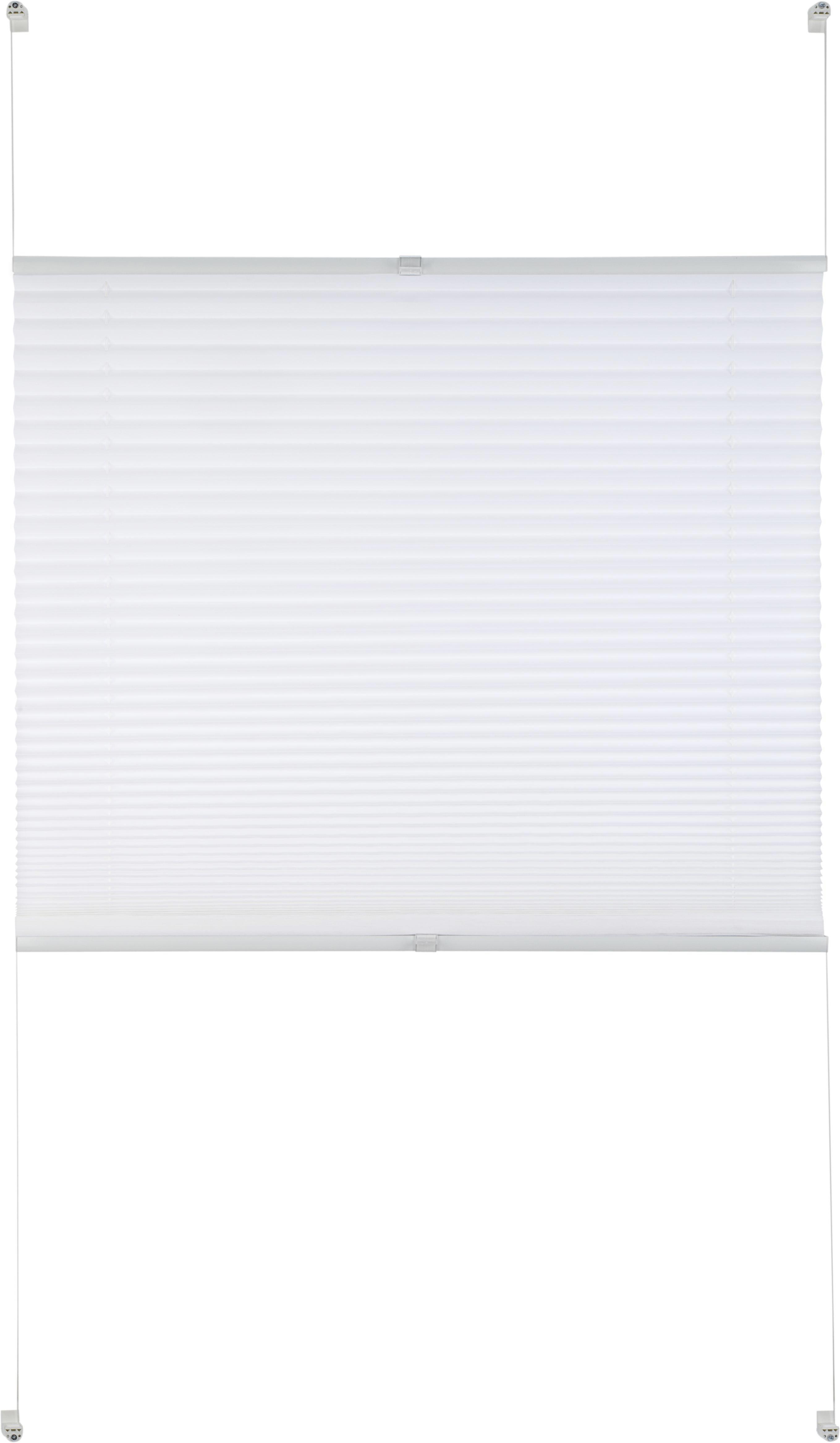 Plissee Free in Weiß, ca. 50x130cm - Weiß, Textil (50/130cm) - PREMIUM LIVING