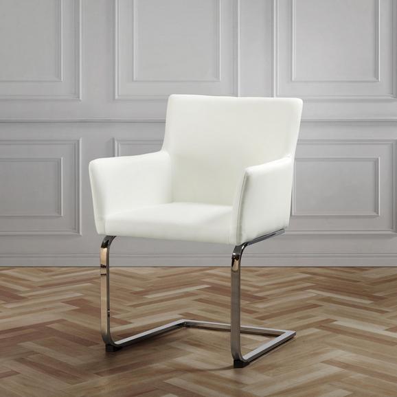 Stuhl Vanessa - Chromfarben/Weiß, MODERN, Holz/Textil (62,5/87/56cm) - Modern Living