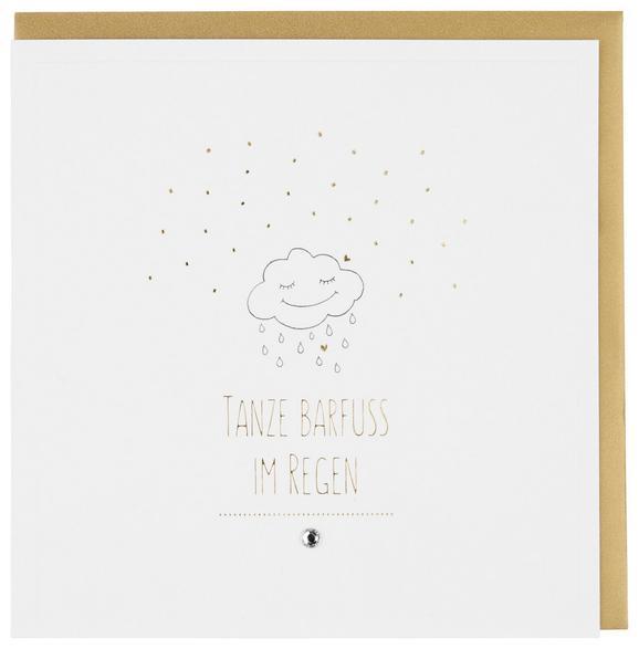 Billett Tanze Barfuß Im Regen Weiß - Goldfarben/Weiß, MODERN, Papier (15/15cm)