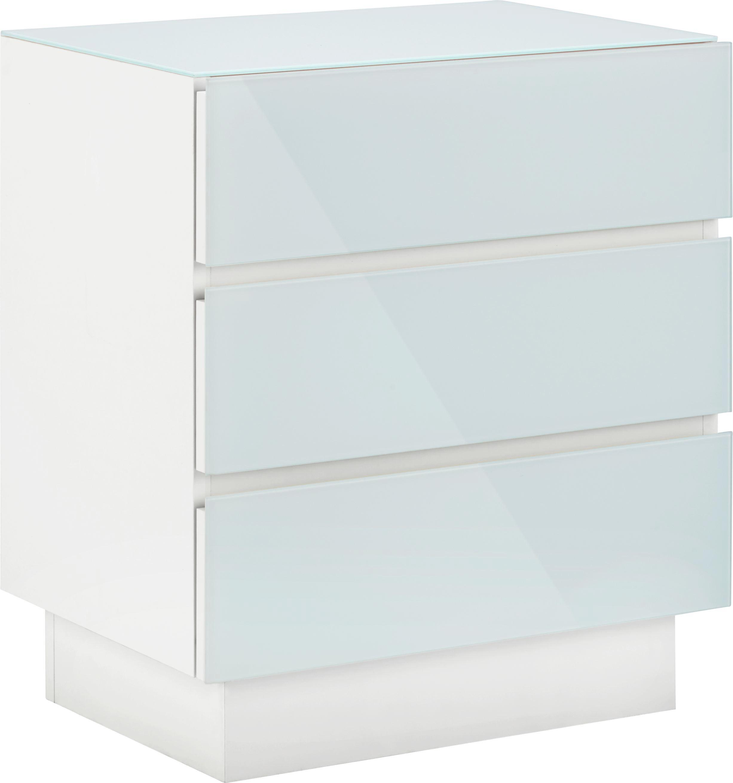 Nachtkästchen in Weiß - Weiß, KONVENTIONELL, Holzwerkstoff (49/56/35cm) - BASED