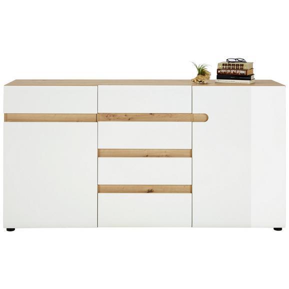 Sideboard in Weiß Hochglanz - Eichefarben/Weiß, MODERN, Holzwerkstoff/Kunststoff (164/87/42cm) - Mömax modern living