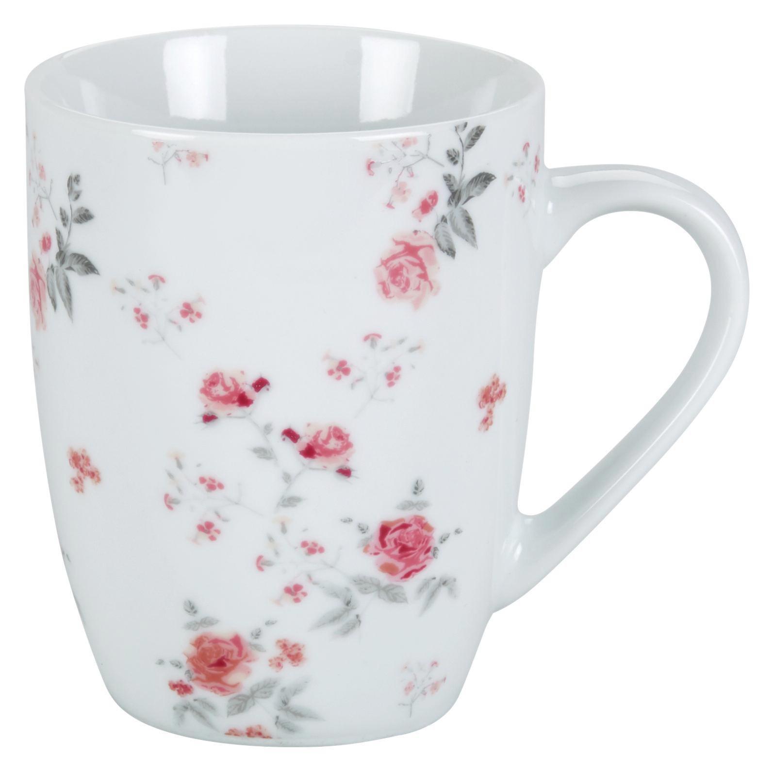 Kaffeebecher Roseanne mit Rosen Motiv - Pink/Grau, ROMANTIK / LANDHAUS, Keramik (8,4/10,5cm) - ZANDIARA