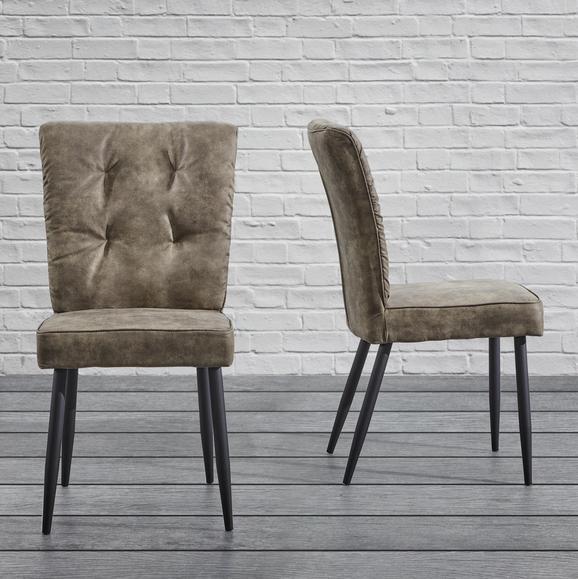 Stuhl Zoey - Schwarz/Braun, MODERN, Holz/Textil (51/93,5/61cm) - Modern Living
