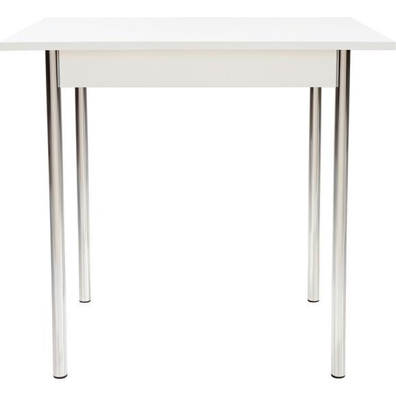 Masă Sufragerie Koln - alb/culoare crom, Modern, compozit lemnos/metal (75/72/55cm)