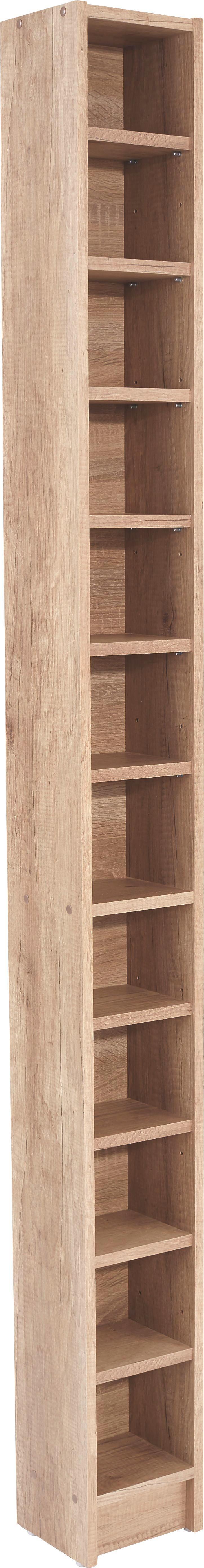 Cd Polc Felix - tölgy színű/világosbarna, modern, faanyagok (20/201,8/16,5cm) - SONNE