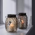 Windlicht Keno Ø/H ca. 14,5/20,5 cm - Hellbraun, MODERN, Glas (14,5/20,5cm) - Bessagi Home