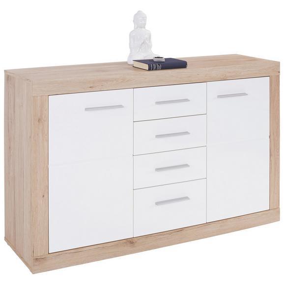 Servantă Malta - Stejar/Alb, Modern, Compozit lemnos (138/86/35cm)