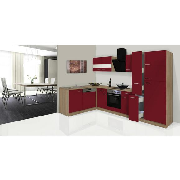 Küchenblock ECONOMY L 310 - Eichefarben/Rot, KONVENTIONELL, Glas/Holzwerkstoff (172/310cm) - Livetastic