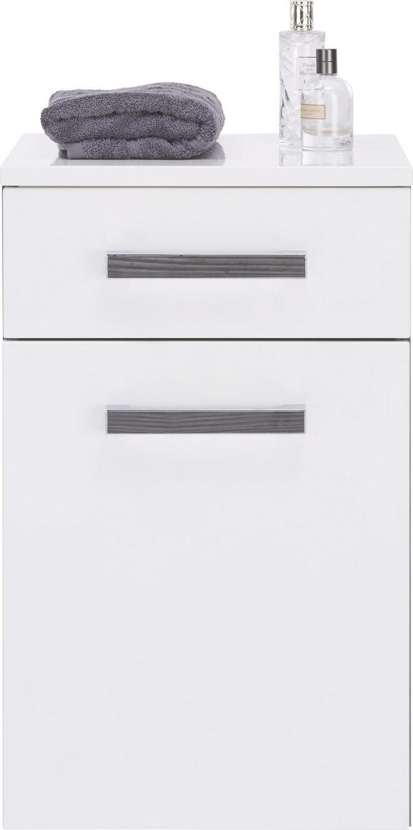 Unterschrank Weiß Hochglanz/anthrazit - Chromfarben/Mooreichefarben, MODERN, Glas/Holzwerkstoff (40/65/36,5cm) - PREMIUM LIVING