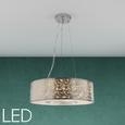 LED-Hängeleuchte max. 24 Watt 'Emelle' - Silberfarben, MODERN, Textil/Metall (40/110cm) - Bessagi Home
