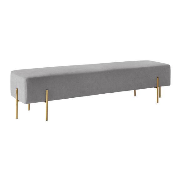 Sitzbank Haley - Goldfarben/Hellgrau, MODERN, Holz/Textil (160/44/36cm) - Bessagi Home