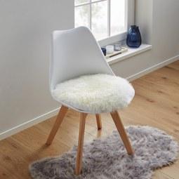 Fellauflage in Weiss aus Schaffell 'Mona' Ø ca. 40 cm - Weiß, MODERN, Textil (40cm) - Bessagi Home