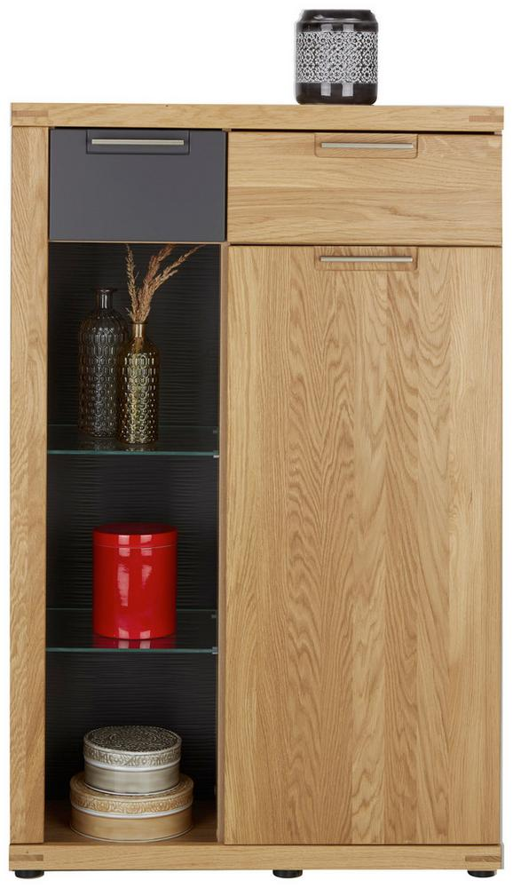 Highboard in Graphit/Eiche - Eichefarben/Graphitfarben, KONVENTIONELL, Glas/Holz (80/126/37cm) - ZANDIARA