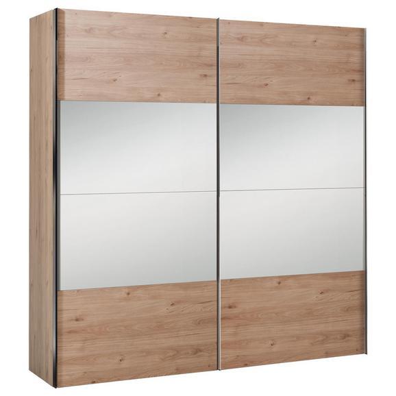 Schwebetürenschrank in Eichefarben - Eichefarben/Alufarben, KONVENTIONELL, Holzwerkstoff/Metall (200/216/68cm) - Premium Living