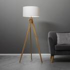 Stehleuchte Finlay - Weiß/Kieferfarben, MODERN, Holz/Textil (46/149cm) - Mömax modern living