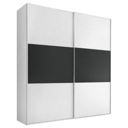 Schwebetürenschrank Includo B:188cm Weiß/ Vulkan Dekor - Anthrazit/Alufarben, MODERN, Glas/Holzwerkstoff (188/222cm) - Bessagi Home