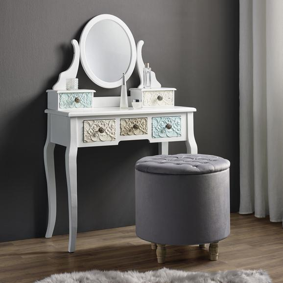 Hocker in Grau mit Stauraum 'Rosalie' - Grau, MODERN, Holz/Textil (50/50cm) - Bessagi Home