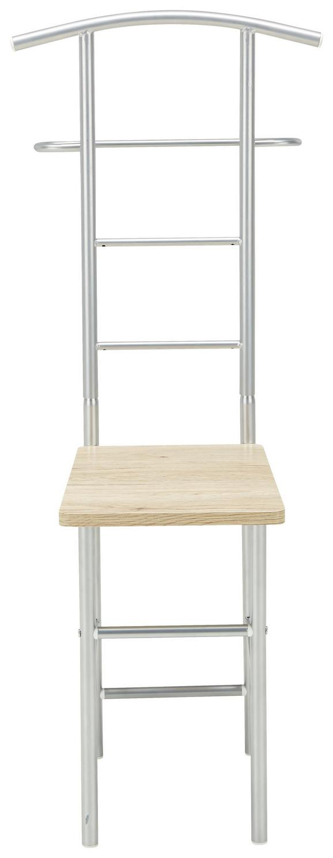 Herrendiener in Eiche/alufarben - Eichefarben/Alufarben, MODERN, Holzwerkstoff/Metall (46/109/46cm) - Mömax modern living