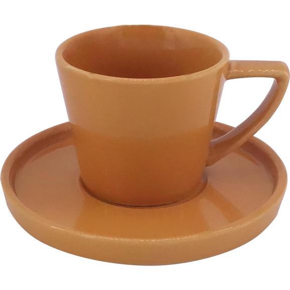 Espressotasse mit Untertasse Merit aus Steinzeug ca. 120ml - Gelb, MODERN, Keramik (0,120l) - Premium Living