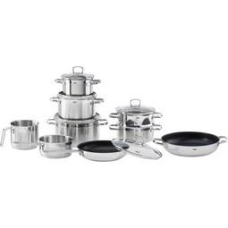 Kochtopfset aus Edelstahl, 10-teilig - Silberfarben, Glas/Metall - Silit