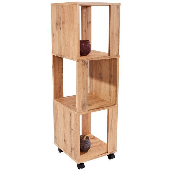 Etajeră Rolly - culoare lemn stejar, Modern, plastic/compozit lemnos (34/111/34cm)