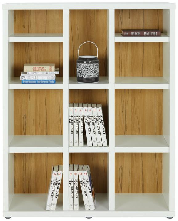 Regal Weiß/Eichefarben - Eichefarben/Weiß, MODERN, Holzwerkstoff/Kunststoff (107/134/37cm)