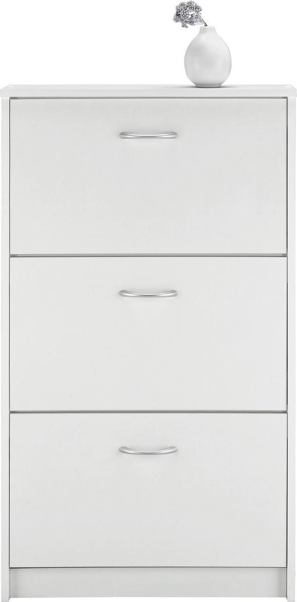Schuhkipper in Weiß - Eichefarben/Silberfarben, Holzwerkstoff/Kunststoff (59/105/17cm) - MÖMAX modern living