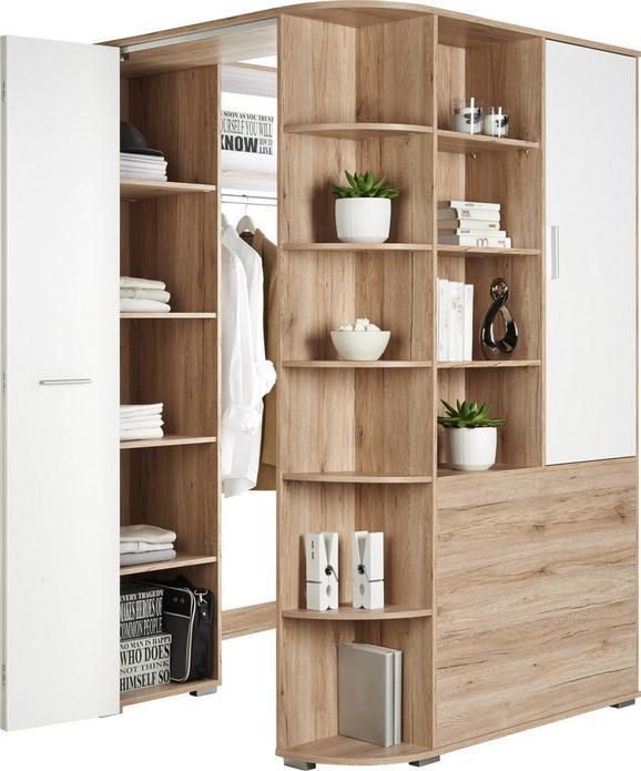 Eckschrank Weiß/Eichefarben - Eichefarben/Alufarben, Holz/Holzwerkstoff (124/198/148cm) - Modern Living