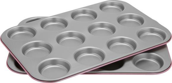 Backblech Penny in Rosa/silber - Silberfarben/Rosa, Metall (38,5/35/3cm)