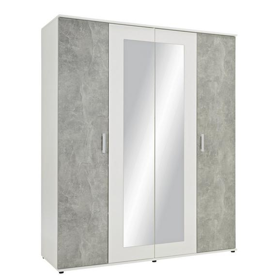 Drehtürenschrank in Betonfarben - Alufarben/Weiß, KONVENTIONELL, Holzwerkstoff/Kunststoff (180/210/58cm) - Modern Living