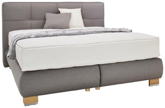 Boxspringbett Grau 180x200cm - Eichefarben/Silberfarben, KONVENTIONELL, Holz/Holzwerkstoff (218/205/120cm) - Premium Living