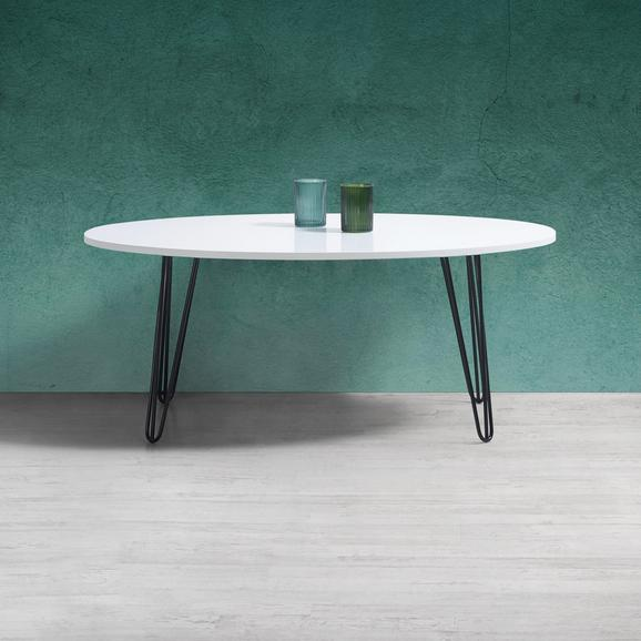 Couchtisch Nikki ca.98x60cm - Schwarz/Weiß, MODERN, Holz/Metall (98/60/40cm) - Modern Living