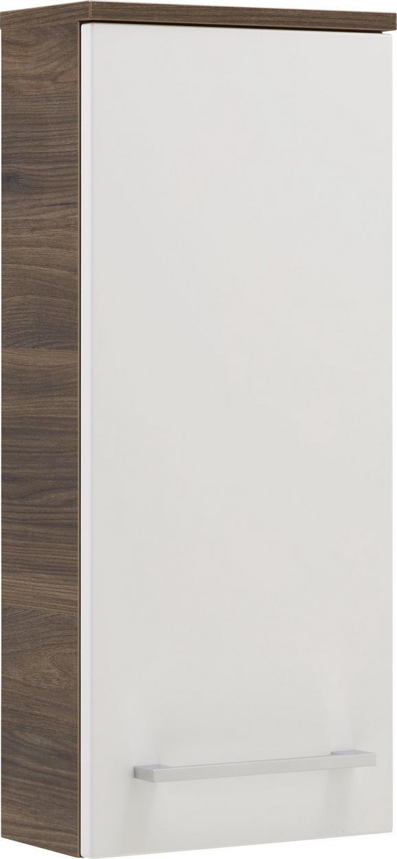 Oberschrank Weiß/Walnussfarben - Chromfarben/Walnussfarben, MODERN, Glas/Holzwerkstoff (31/71/16cm) - Premium Living