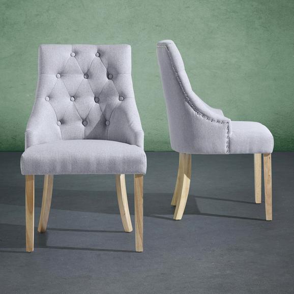 Stuhl Mila - Naturfarben/Grau, MODERN, Holz/Textil (57/93,5/63cm) - MÖMAX modern living